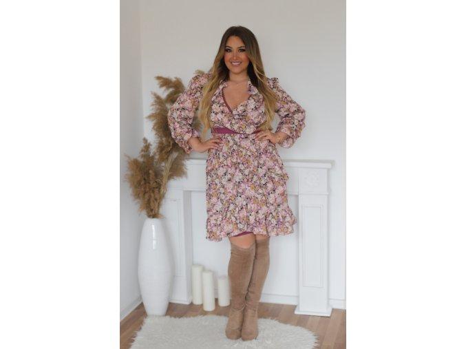 Květinové šaty s volány ve fialovo-růžové (Veľkosť XXXXL)