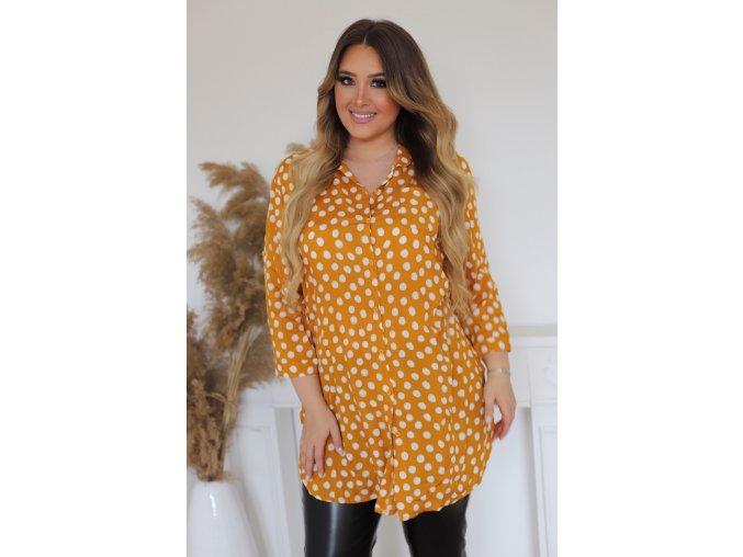 Prodloužená žlutá tečkovaná košile (Veľkosť XXXL)