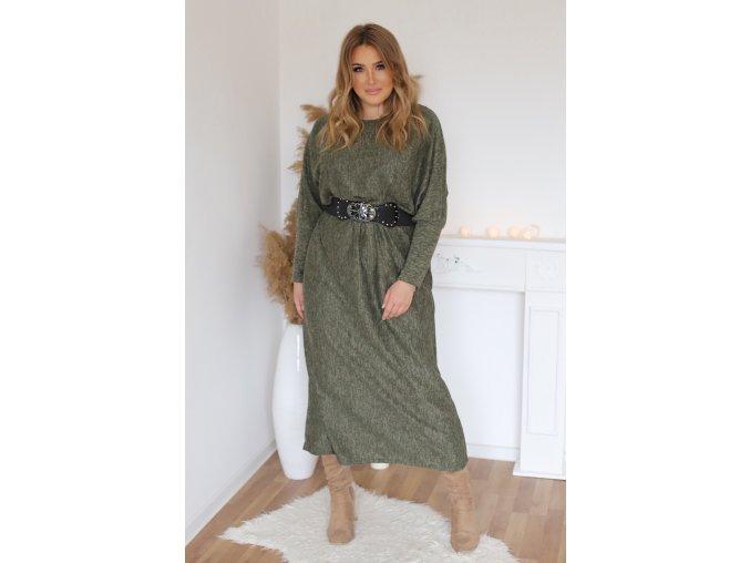 Dlouhé šaty s páskem v khaki barvě (Veľkosť XL/XXL)