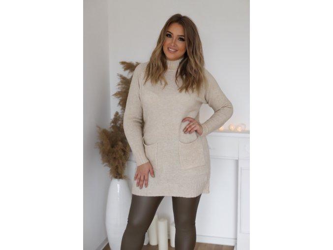 Prodloužený svetr s kapsami v krémové (Veľkosť XL/XXL)