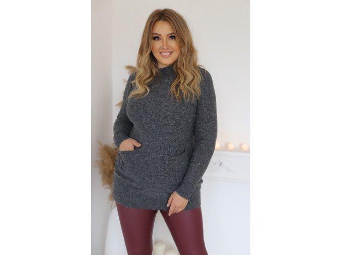 Prodloužený svetr s kapsami v tmavošedé (Veľkosť XL/XXL)