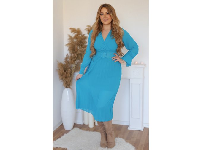 Modré šaty s plisovanou sukní a páskem (Veľkosť M/L)