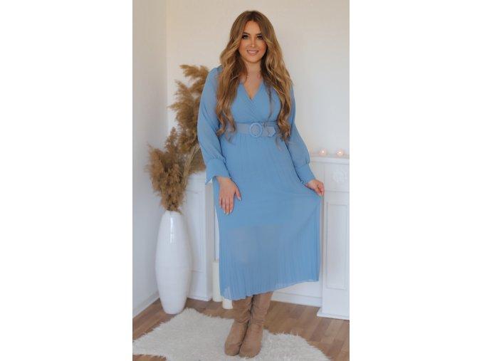 Bleděmodré šaty s plisovanou sukní a páskem (Veľkosť M/L)