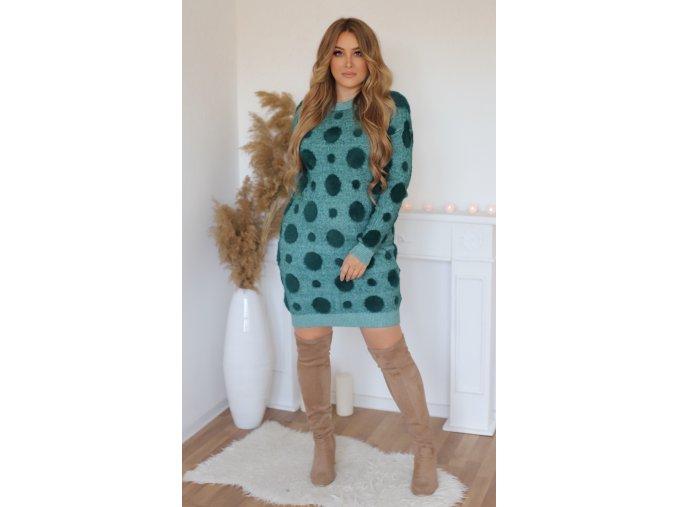 Puntíkované svetrové šaty v zelené (Veľkosť XL/XXL)