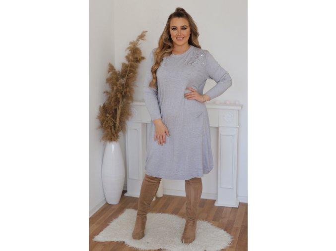 Volné svetrové šaty s krajkou na ramenou - šedá (Veľkosť XL/XXL)