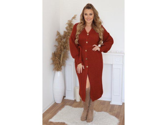 Kardigánový šaty s páskem v terakotové barvě (Veľkosť L/XL)