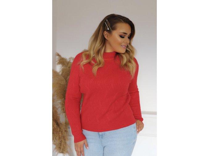 Dámský červený svetr (Veľkosť XL/XXL)