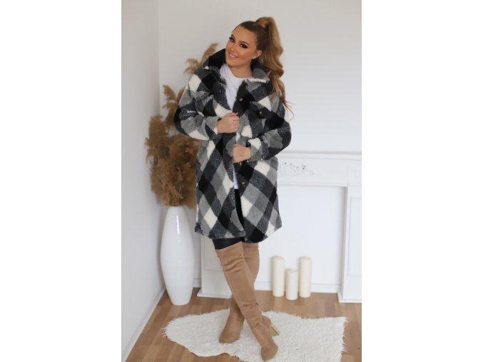 Černo-bílý teddy kabát (Veľkosť L/XL)