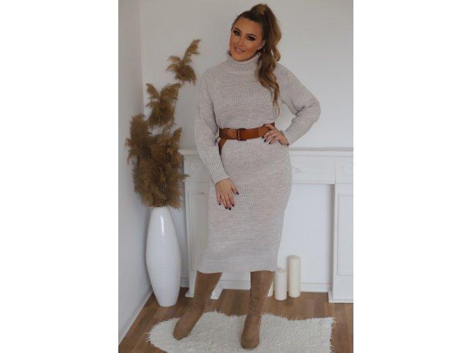 Béžové rolákové svetrové šaty (Veľkosť L/XL)