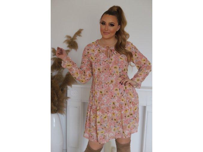 Krátké růžové květinové šaty s dlouhým rukávem (Veľkosť XL)