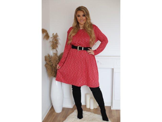Červené šaty s dlouhým rukávem (Veľkosť XL/XXL)