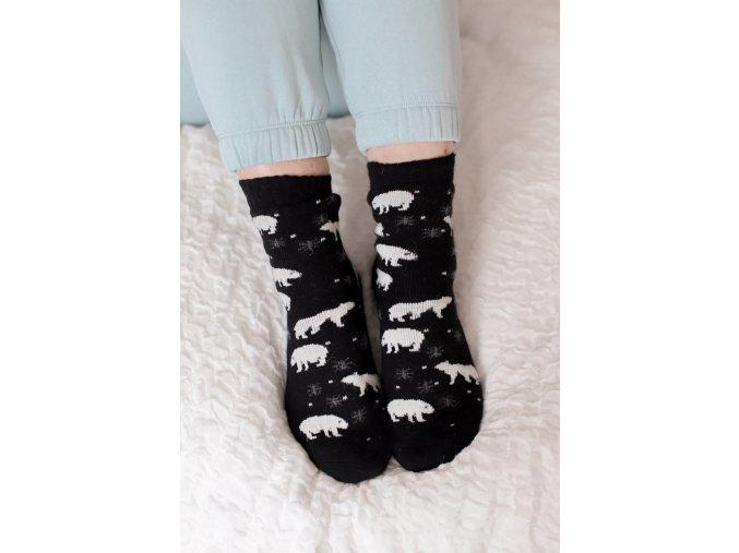 Černé ponožky s angorské vlnou - Polární medvěd (Veľkosť 38-41)