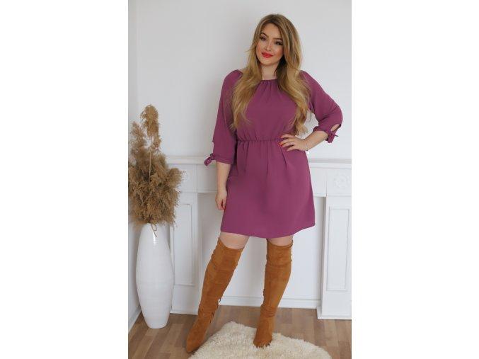 Krátké šaty s mašličkami na rukávech - fialová (Veľkosť XXXL)