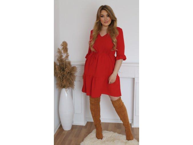 Krátké červené šaty s výstřihem do V (Veľkosť XXXL)