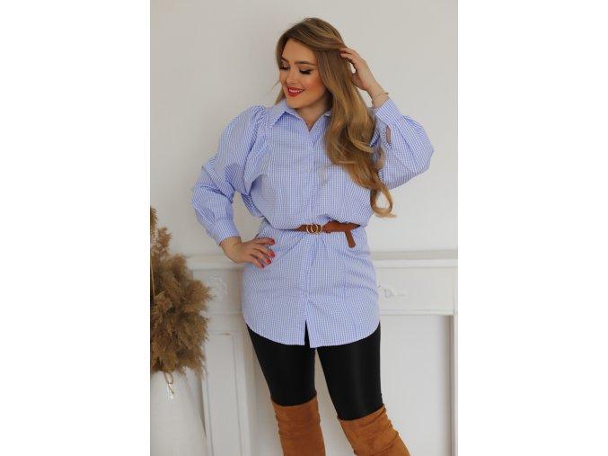 Modro-bílá košile s řasením na ramenou (Veľkosť L)
