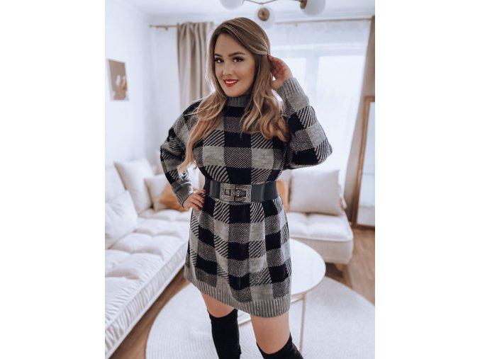 Prodloužený károvaný svetr v šedé (Veľkosť XL/XXL)