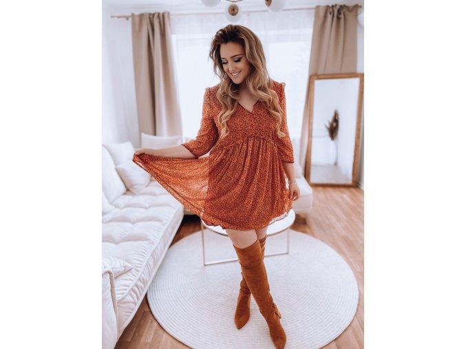 Cihlově-oranžové krátké šaty (Veľkosť XXXXL)