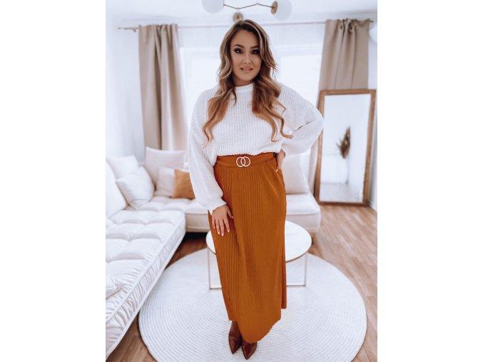 Horčičně hnědá plisovaná sukně s páskem (Veľkosť L/XL)