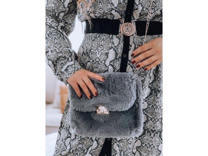23510 siva kabelka z umelej kozusiny
