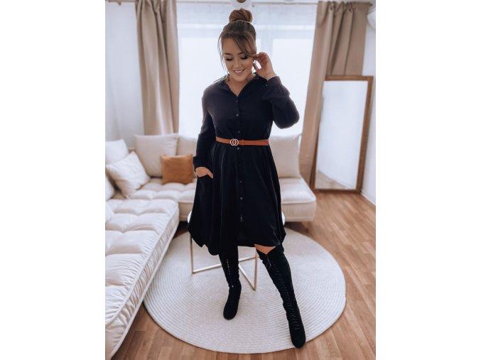 Košilové šaty v černé barvě (Veľkosť L/XL)