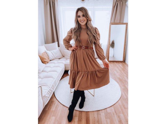 Hnedé prešívané šaty