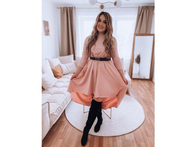 Asymetrické šaty v světle růžové (Veľkosť L/XL)