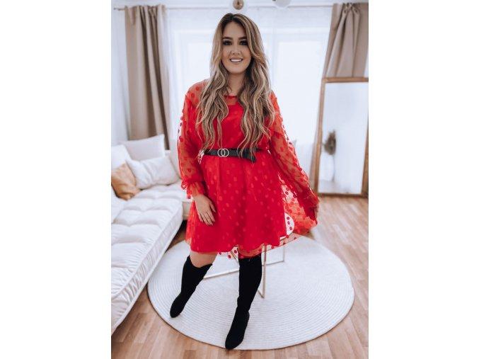 Červené puntíkované šaty s páskem (Veľkosť XL/XXL)