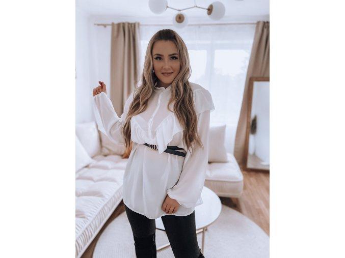 Bílá košile s volánem (Veľkosť XL/XXL)