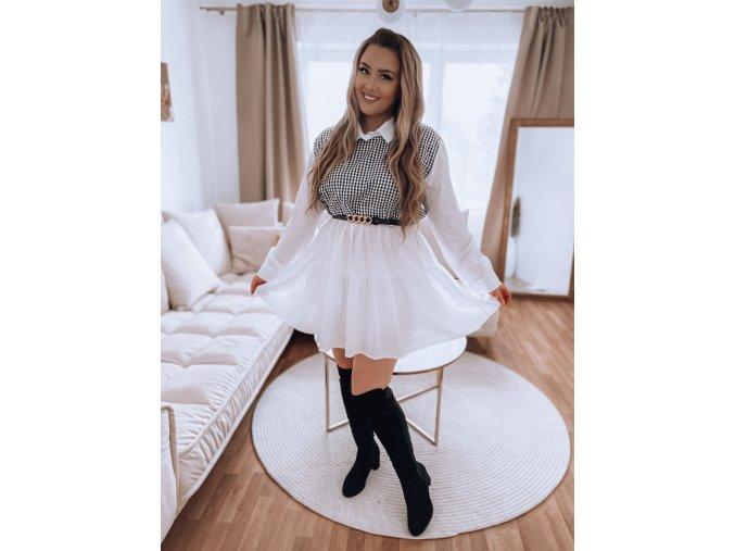 Košilové šaty s černo-bílým vzorem na dekoltu (Veľkosť XL/XXL)