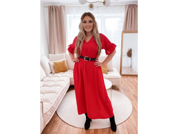 Dlouhé šaty s krátkým rukávem a výstřihem do V - červená (Veľkosť L/XL)