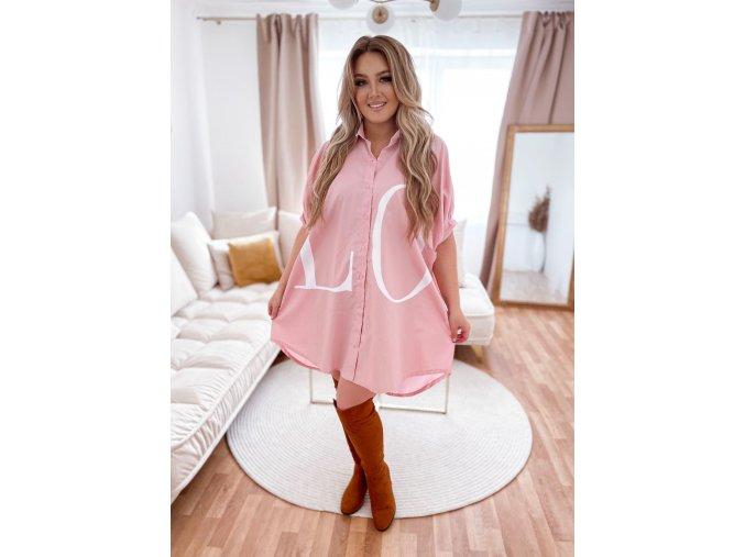 Oversize košile LOVE - růžová (Veľkosť XL/XXL)