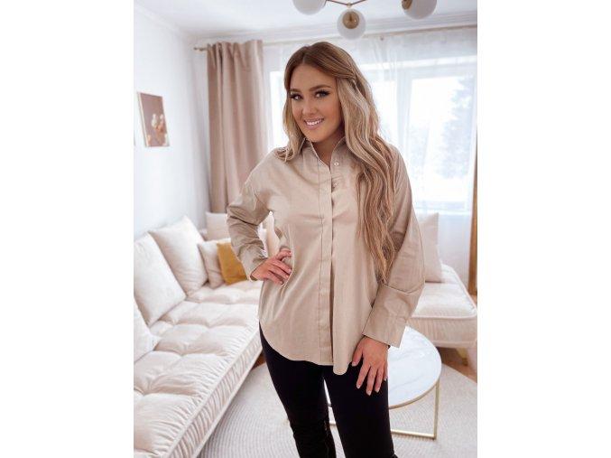 Bavlněná košile v béžové barvě (Veľkosť L/XL)