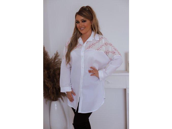 Bílá volná košile s růžovým vzorem (Veľkosť XL/XXL)