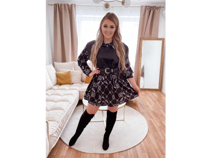 Volné černé vzorované šaty s koženkovým detailem (Veľkosť XL/XXL)