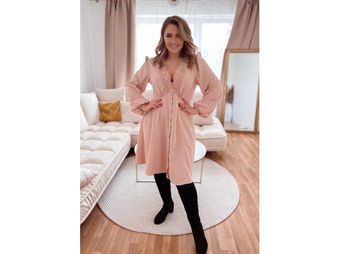 Béžové šaty s knoflíky a hlubokým výstřihem (Veľkosť XXXXL)