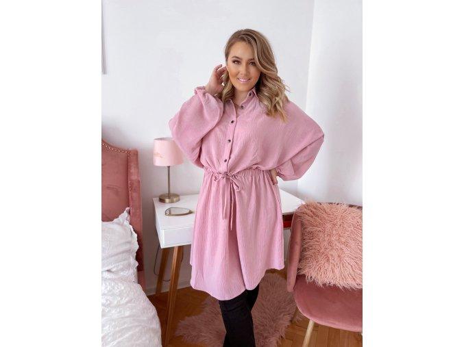 Světle růžové volné šaty se stahováním v pase (Veľkosť XXXXL)