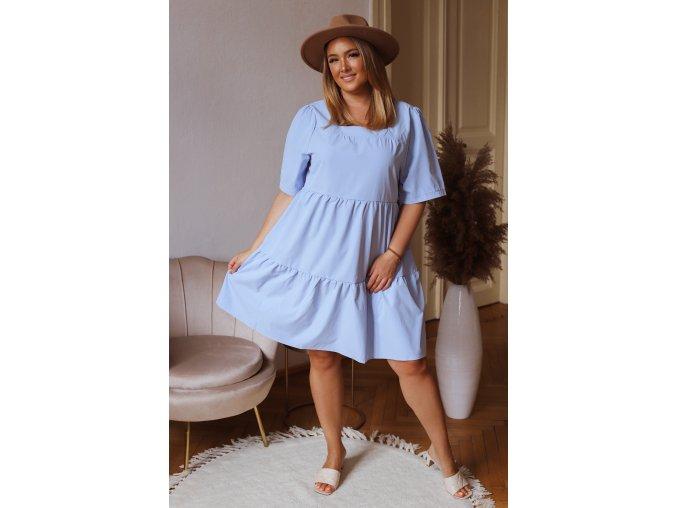Dámské volné šaty s krátkým rukávem - světle modrá