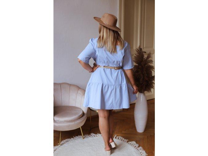 Dámské volné šaty s krátkým rukávem - světle modrá (Veľkosť XXXXL)