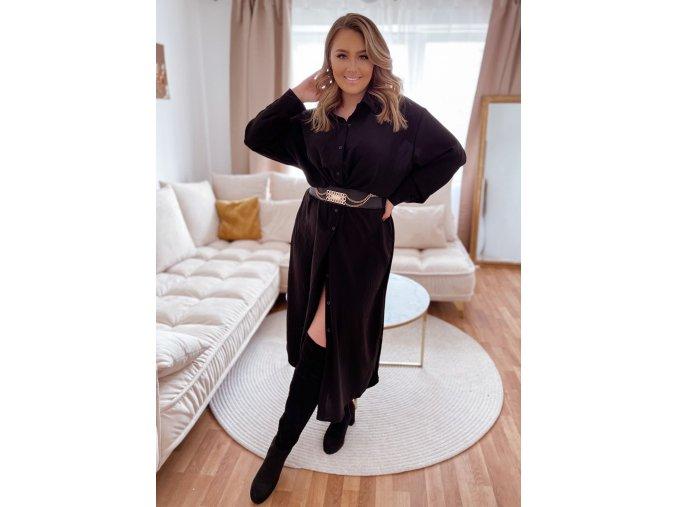 Dlouhé černé košilové šaty (Veľkosť XXXXL)