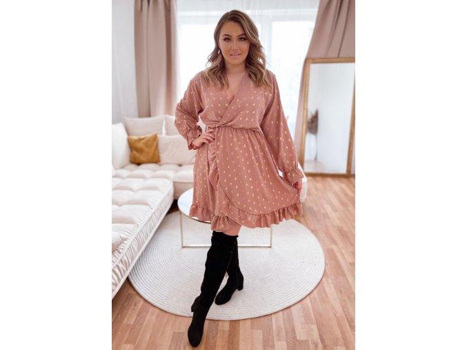 Šaty s volánem na přední části a zlatým vzorem - růžová (Veľkosť XL/XXL)
