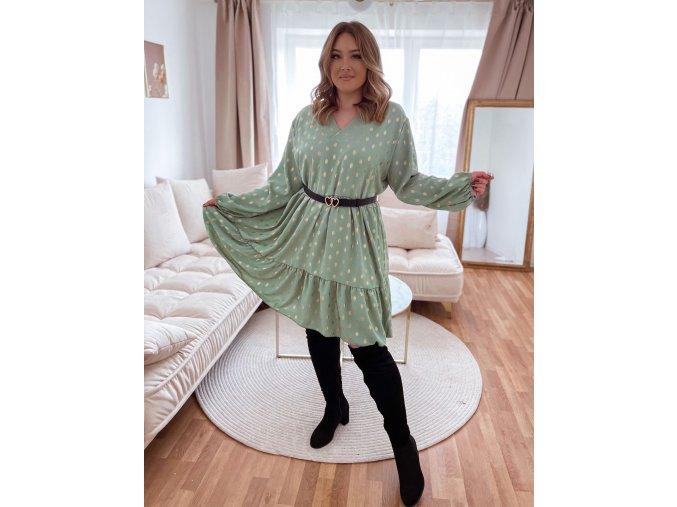 Volné šaty s výstřihem do V a zlatým vzorem - zelená (Veľkosť XL/XXL)