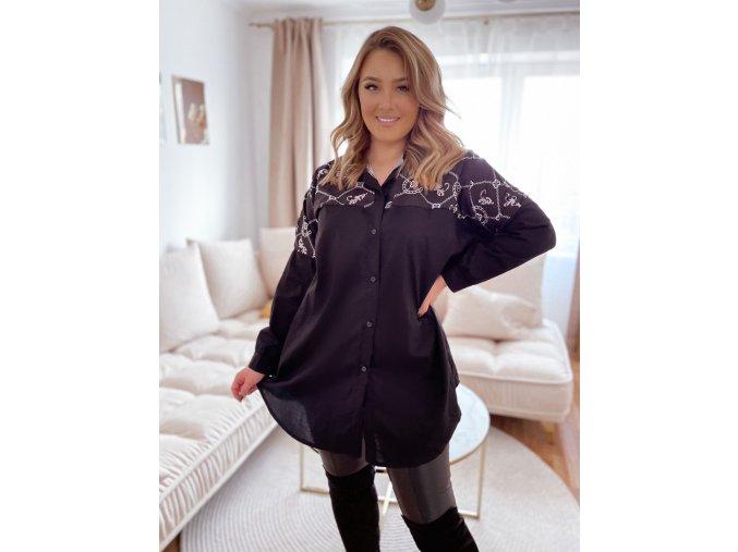 Černá volná košile (Veľkosť XL/XXL)