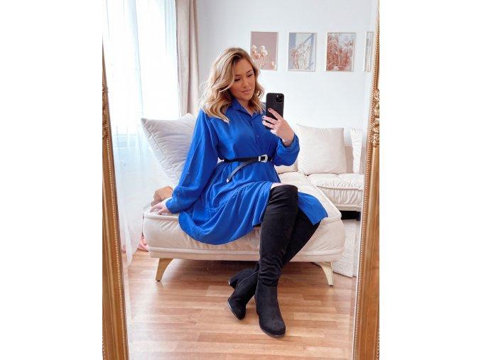 Krátké prošívané košilové šaty v modré (Veľkosť XL/XXL)