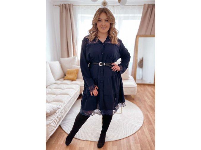 Prošívané šaty s krajkou - tmavě modrá (Veľkosť XL/XXL)