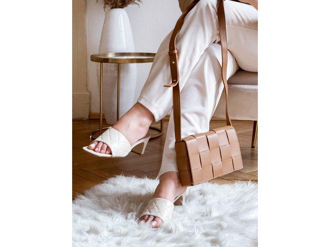 Krémové pantofle na podpatku (Veľkosť 41)