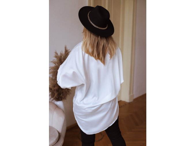 Asymetrická košile se saténovým efektem - bílá (Veľkosť XL/XXL)