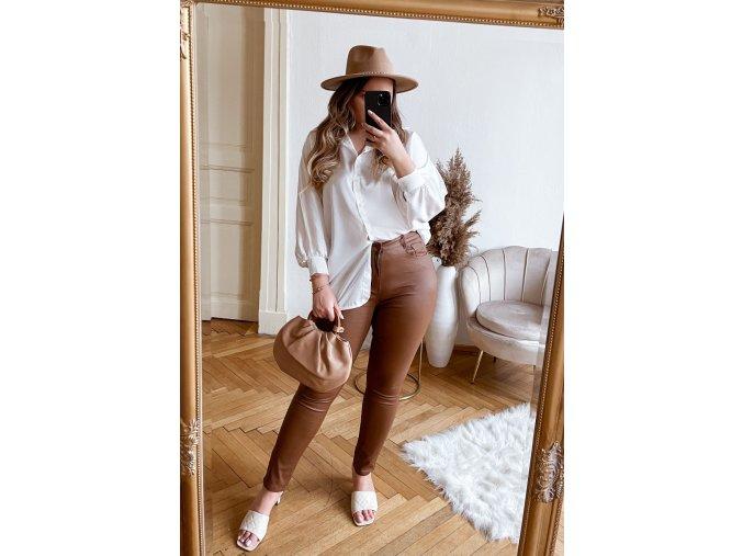 Hnědé kalhoty s efektem kůže (Veľkosť XXXXL)