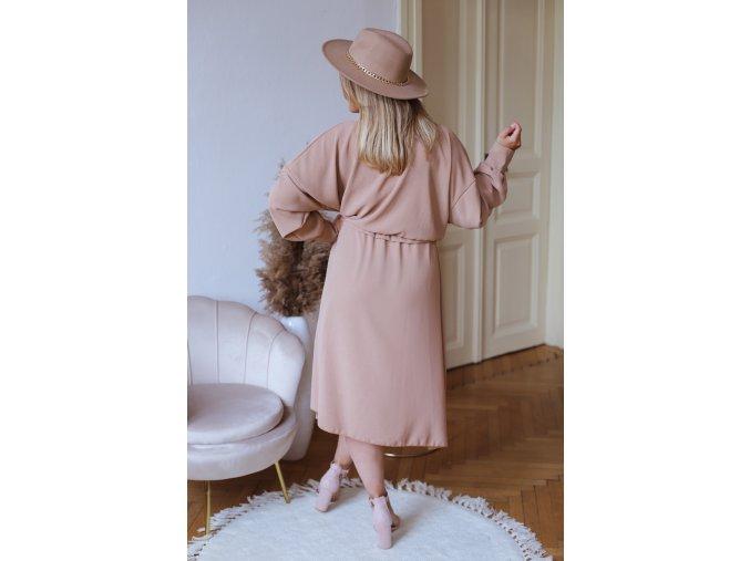 Béžovo hnědé šaty se zavinovacím efektem (Veľkosť XL/XXL)
