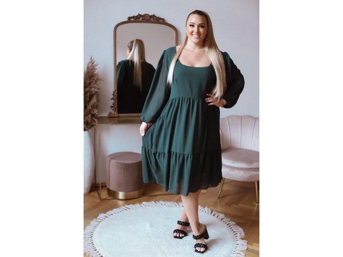 Volné zelené šaty v midi délce s dlouhým rukávem (Veľkosť XL/XXL)
