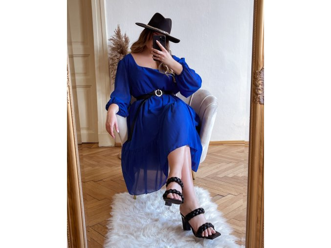 Volné modré šaty v midi délce s dlouhým rukávem (Veľkosť XL/XXL)